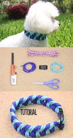 Un collar para mascotas fácil de hacer y con 2 colores para poner guapos a los perritos y gatitos. #craftingeek #DIY
