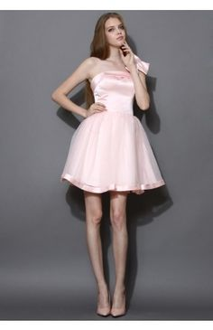Bowknot Bustier Tulle Prom Dress in Pink - Dress - Retro, Indie and Unique Fashion