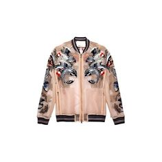 3.1 Phillip Lim Fish Tattoo Embroidered Sheer Bomber ($1,195) ❤ liked on Polyvore featuring outerwear, jackets, coats, coats & jackets, куртки and 3.1 phillip lim