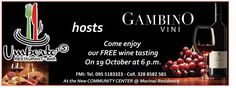 Come enjoy our FREE wine tasting on 19 October at 6 p.m in Umberto's Restaurant #gambinovini #etna #wineLovers