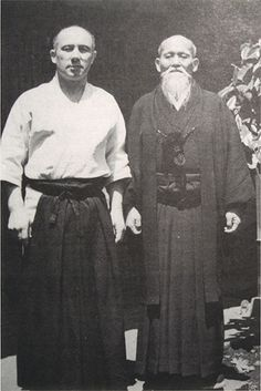 Aikido Founder Morihei Ueshiba with André Nocquet, his first foreign live-in student.
