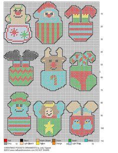 Christmas Pocket Ornaments Pg 2/2 Diy Xmas Ornaments, Plastic Canvas Ornaments, Plastic Canvas Crafts, Plastic Canvas Patterns, Xmas Baubles, Christmas Baskets, Christmas Crafts, Christmas Drinks, Christmas Time