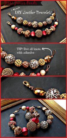 Leather bracelets with Jesse James Beads!
