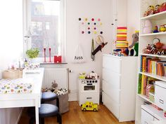 I like the ideas for placement of a variety of furniture for function and storage.  small room like the playroom. Desk and bookshelves and all white for brightness in that dull room.
