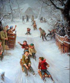 Vintage Kids on sleds