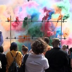 "One work of art, a rainbow of photo possibilities. This week's #whereartthou, a series highlighting exhibitions which inspire visitors to take pictures, is Olaf Breuning's (@olafbreuning) ""Smoke Bombs."" The piece, which is created using a large grid of colorful smoke bombs, was staged during the artist Doug Aitken's Station to Station (@stntostn), a vibrant 30-day project.   https://instagram.com/"