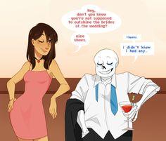 Sans and Frisk flirting at Undyne and Alphys' wedding, part 1