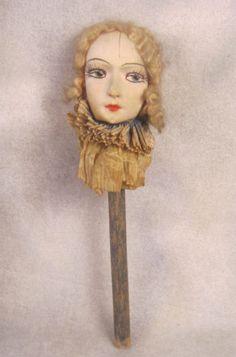 1930s-Boudoir-Doll-Head-decoration-mask-face-cloth-mohair-wig-on-stick-collar