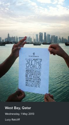 The manifesto in the Middle East, viewing the Qatar skyline.
