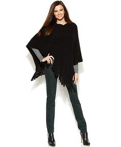 INC International Concepts Open-Knit Fringed Poncho & Colored Skinny Jeans