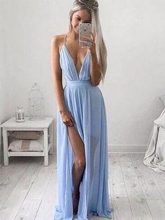 Backless A-line V-neck Chiffon Floor-length Split Front Informal Ball Dresses #PLS020102501