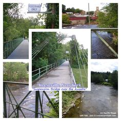 A suspension bridge over the Ausable River in Keeseville, New York.