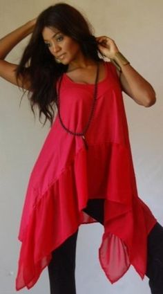 RED BLOUSE TOP CAMI LYCRA CHIFFON ASYM LAGENLOOK - FITS (ONE SIZE) - L 1X 2X - B260S LOTUSTRADERS LOTUSTRADERS. $47.99