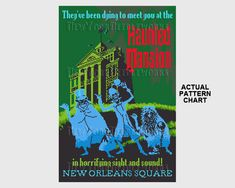 Haunted Mansion DL Cross Stitch Disneyland Poster DL Poster