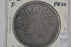 1902 Mexico One 1 Un Peso Republica Mexicana .903 Silver Coin F Fine