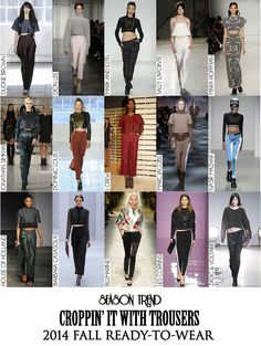 Crop Top with Trousers 2014 Trends, Ready To Wear, Capri Pants, Trousers, Crop Tops, Fall, How To Wear, Collection, Fashion