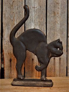 Vintage Cast Iron Metal Arched BLACK CAT Doorstop Halloween #NaivePrimitive #NoMakersMark