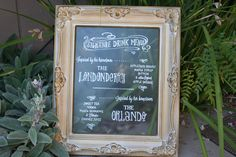 signature drink menu on frosted glass for wedding