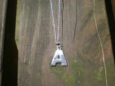 Silver A initial necklace - PMC