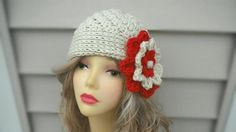 Crochet womens Hat  Ladies Flower Hat Crochet Beanie for Girls Winter Womens Hat Winter Accessories Hair Accessories