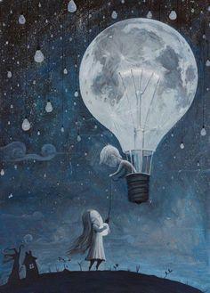 Beautiful art. Light bulb. Air balloon.