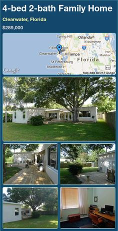 4-bed 2-bath Family Home in Clearwater, Florida ►$289,000 #PropertyForSale #RealEstate #Florida http://florida-magic.com/properties/24623-family-home-for-sale-in-clearwater-florida-with-4-bedroom-2-bathroom
