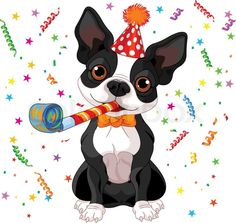 Stock vector ✓ 14 M images ✓ High quality images for web & print | Illustration of cute Boston terrier celebrating