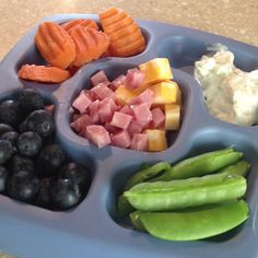 "carrots - snap peas - ranch ""dip dip"" - blueberries - diced ham and cheese - yogurt"