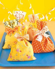 "Guests will say ""goody"" when they get these cheerful bags. Made of fabric scraps, they sew up in a snap."