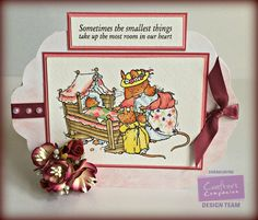 Crafters Companion Brambly Hedge Stamp... Baby crib & Mummy mouse stamp & sentiment Spectrum Noir pens... CT1,2,3 LY 1,2,3 EB 1,2 GB 8 CR 3,6 LG 3 TB 1 Neenah card base Backing paper from CD 2 Poppies babies.. Co-ordanating Papers Design 10 colour 1 Collall 3d gel Collall all purpose glue Colorecore card stock Extras... ribbon flowers, pearls