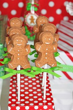 Marshmallow pops at a Gingerbread party! See more party ideas at CatchMyParty.com!  #partyideas  #gingerbread