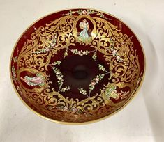 Antique Enamelled Ruby Glass Pedestal Dish circa 1895. Beautifully decorated in a richly coloured enamel palette with cameos of female figures midst gilded arabesques and floral swags the base with pontil mark probably Italian brought to England by some one returning from a Grand Tour Antiques Atlas Floral Swags, Grand Tour, Antique Glass, Arabesque, Pedestal, Palette, Enamel, England, Dishes