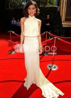 White Aubrey Plaza Halter Sweep Scalloped Trim Chiffon Emmy Awards Dress. White Aubrey Plaza Halter Sweep Scalloped Trim Chiffon Emmy Awards Dress. See More Emmy Awards Dresses at http://www.ourgreatshop.com/Emmy-Awards-Dresses-C902.aspx