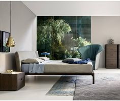 Novamobili Bett Park Eiche hell - Massivholz Bett aus Eiche mit gepolstertem Kopfteil
