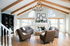Gorgeous living room with vaulted wood-beamed ceiling