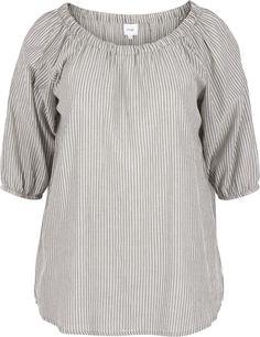 Stripete bluse med 3/4-ermer fra Zizzi. Blusen er laget av 100 % bomull og har strikk i utringningen. A-formen fremhever brystet og faller løsere nedover kroppen derifra. Dra strikken i utringningen over skuldrene og bruk blusen off shoulder for en moderne sommerlook. Dekk stroppene fra BH'en ved å ha på en basistopp under. Tops, Women, Style, Fashion, Swag, Moda, Women's, Stylus, La Mode