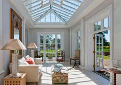 Traditional Orangery with decorative door panelling and columns