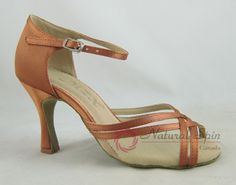 Natural Spin Basic Latin Shoes(Open Toe):  L1105-08_DrBrown2CS