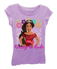 Look at this #zulilyfind! Purple Floral 'Ready To Rule' Elena Cap-Sleeve Tee - Girls #zulilyfinds