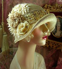 1920s Vintage Style Large Size Tan Off White Ribbonwork Cloche Flapper Hat