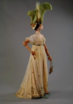 Circa 1795 Directoire dress, Fortuné, mounted on yellow under dress via