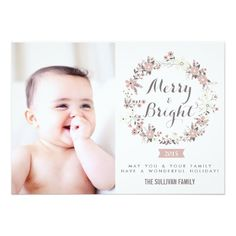 Blush and Gray Christmas Wreath Holiday Photo Card