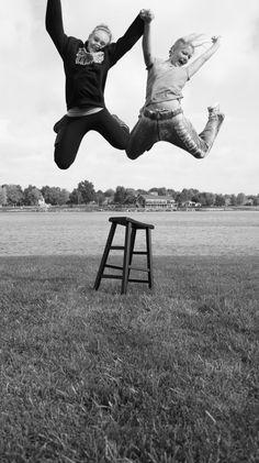 Fun jumping photo pose