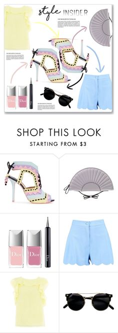 """""""Strapped In: Lace-Up Sandals"""" by maria-charp ❤ liked on Polyvore featuring Sophia Webster, RED Valentino, Christian Dior, Relish, contestentry, laceupsandals and PVStyleInsiderContest"""
