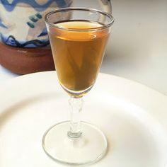 Home made toasted hazelnut liqueur.