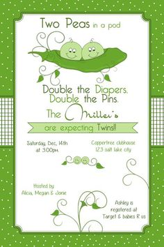 Two Peas in a Pod Baby Shower Invitation - printable
