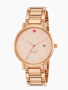 Rose gold watch by Kate Spade.