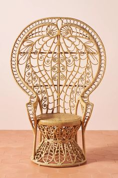 Plumage Indoor/Outdoor Rattan Chair by Anthropologie in Beige Size: All, Outdoor Hanging Furniture, Rattan Furniture, 70s Furniture, Outdoor Furniture, Rattan Peacock Chair, Boho Lounge, Do It Yourself Design, Boho Wedding Decorations, Bar Chairs