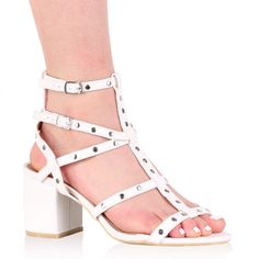 Connie Studded Block Heels in White
