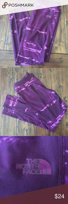 North Face Pant Leggings Purple print-vibrant!  Polyester and elastane. Great for yoga, running, workouts. Excellent condition. Pattern is very similar to the recent Lululemon purple tie dye pattern. 🛍 Tags: The North Face. Dick's Sporting Goods. Fitness. Running. Jogging. Lifting. Yoga. Work out. Tie dye. Long Leggings. North Face Pants Leggings